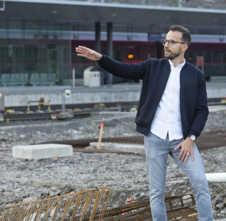 Rene Gmeiner auf Baustelle